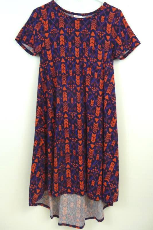 LuLaRoe Carly Dress XS Blue Coral Tribal Design Hi-Lo Short Sleeve