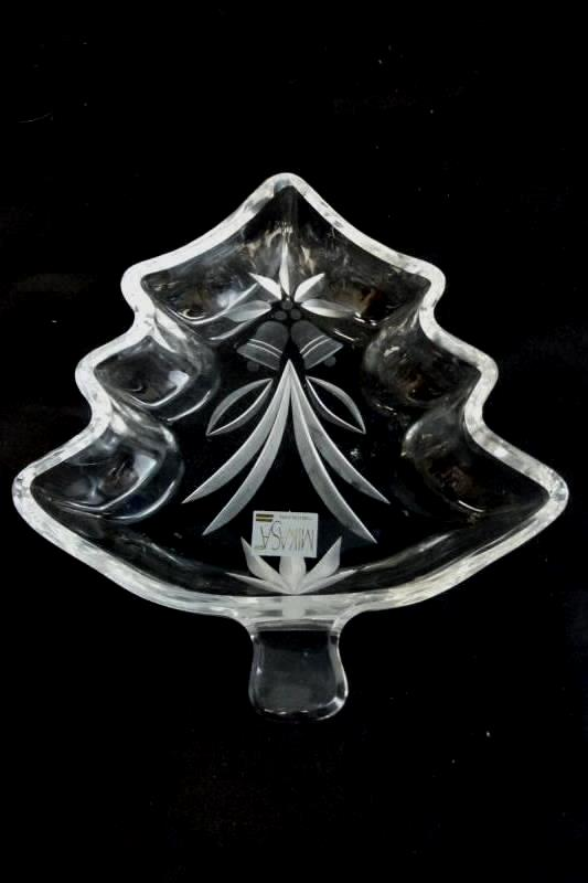 Vintage Mikasa Clear Glass Christmas Tree Candy Dish Made in Yugoslavia