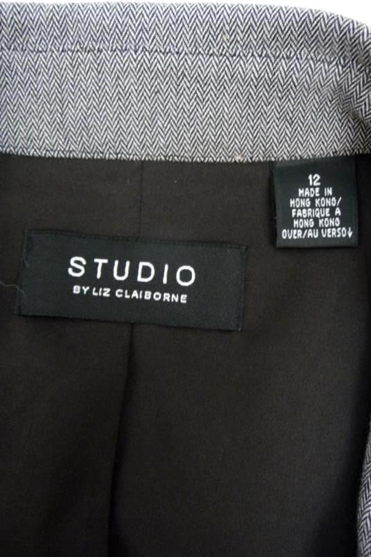 Studio By Liz Claiborne Size 12 Women's Gray Print Full Zip Jacket