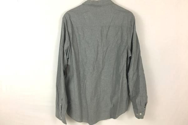Fission Men's Slim Fit Button Up Grey Long Sleeve Dress Shirt Size Large