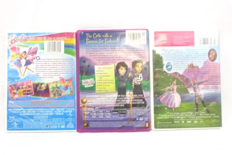 Lot of 3 Kids DVDs Bratz the Video Barbie Swan Lake Barbie a Fairy Secret