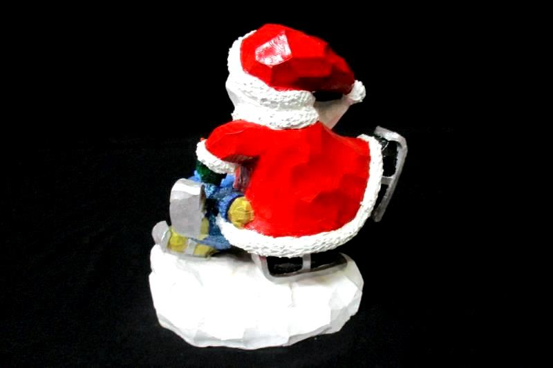 Bisque Skating Santa And Snowman Figurine 8.25 in