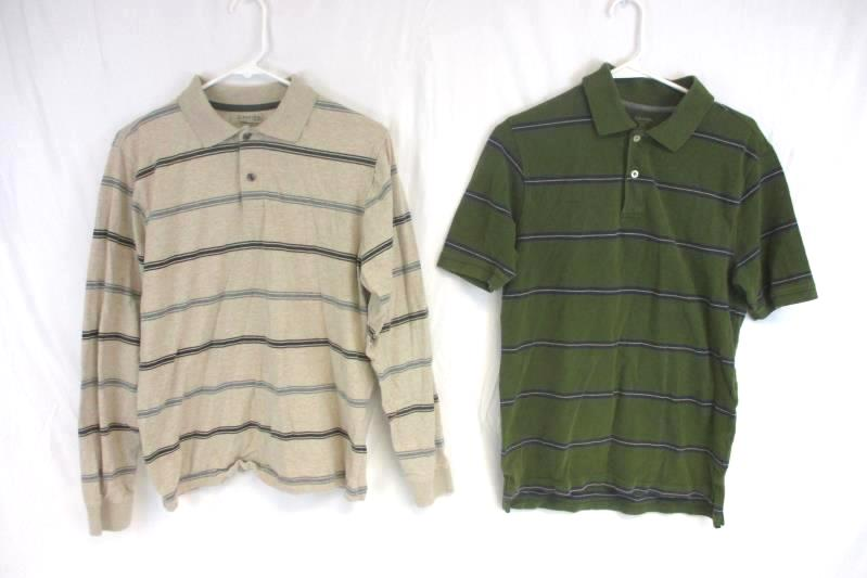 Lot of 2 St. John's Bay Men's Size Small Striped Button Up Shirts