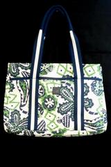 Pomegranate Inc. Large Tote Navy Blue Green White Floral Paisley Weekend Beach