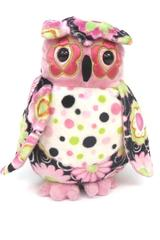 Douglas The Cuddle Toy Owl Plush Animal Pink Black Green Floral Polka Dots  9""