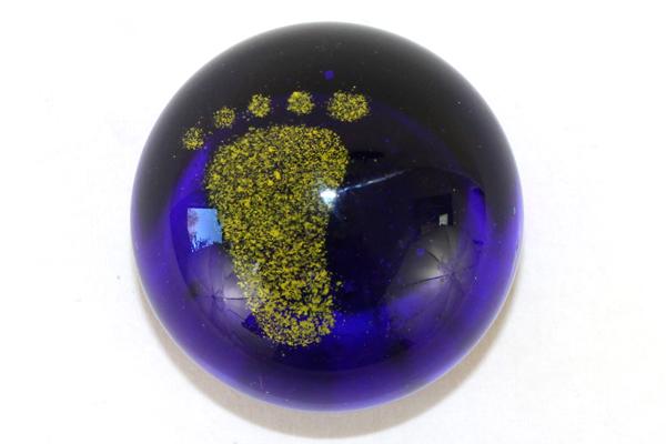 Cobalt Blue Art Glass Paperweight With Yellow Sand Footprint Desk Table Top