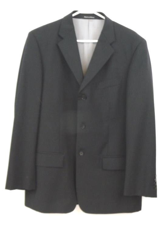 Axcess Men's Black Pin Striped Blazer Suit Jacket Career Sz 40R 100% Wool