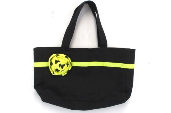 Medium Tote Purse Bag Magnetic Closure Yellow Flower Polka Dot Interior