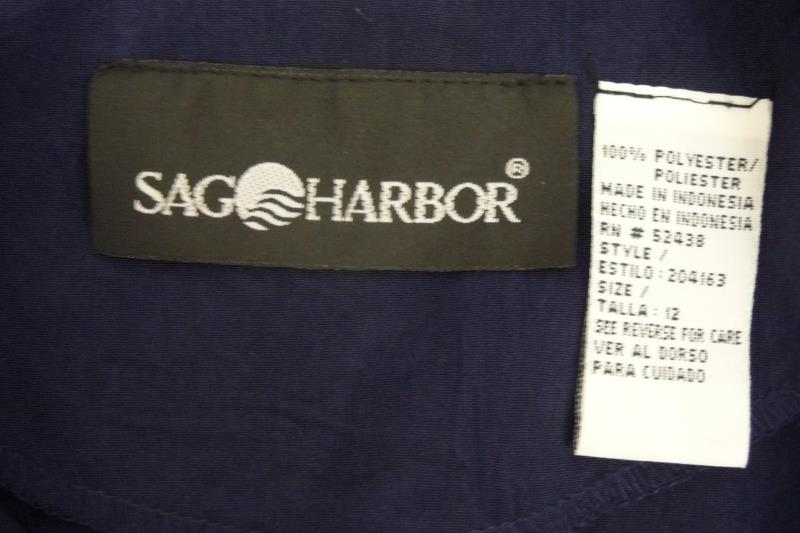 Sag Harbor Women's Cropped Vest Blue Buttons Size 12 Polyester