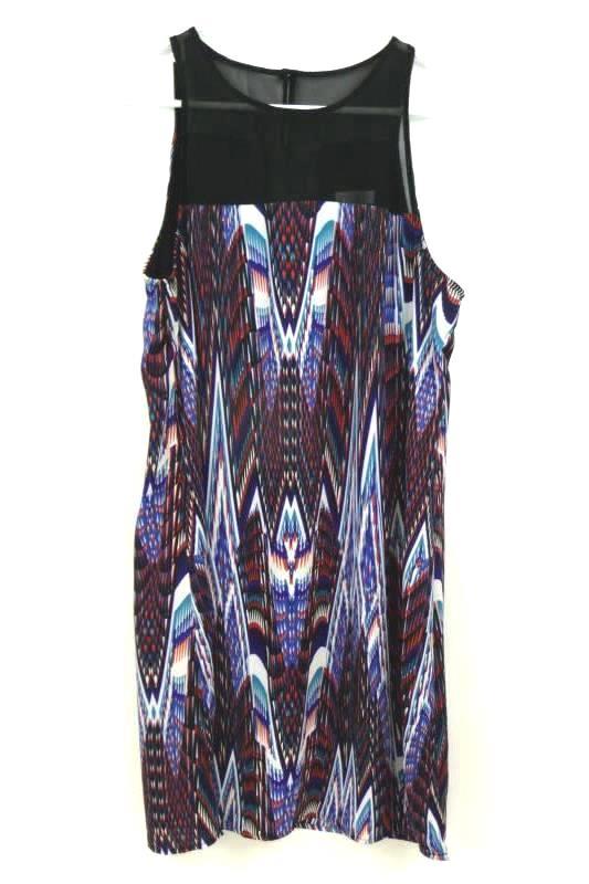 Bisou Bisou Women's Black Multi Print Sleeveless Short Dress Illusion Neck Sz 12