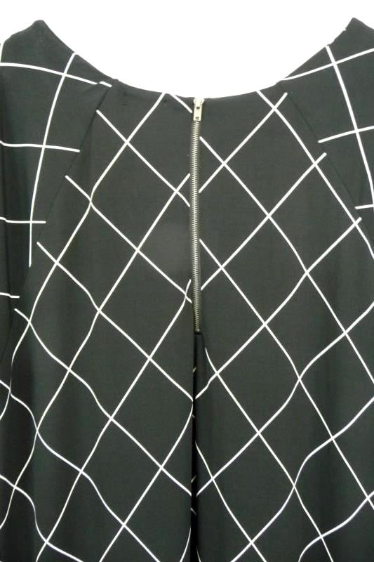 Ellos Women's Black White Diamond Shift Dress Midi Hi-Lo Hem Sz M 14/16