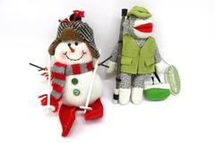 Two Christmas Ornaments Snowman On Skis Sock Monkey Midwest CBK