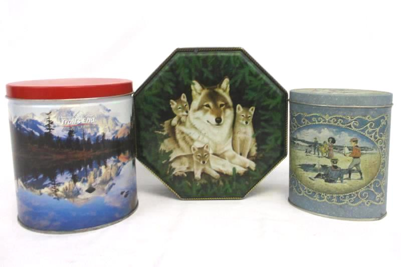Lot of 3 Collectible Tins Alaska Wolves Seaside Sweets Trails End Popcorn