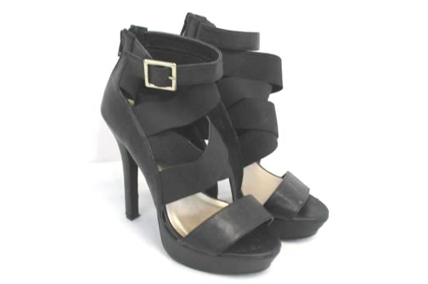 Qupid Strappy Stiletto Heels Black Buckle Zip Platform Womens 6.5