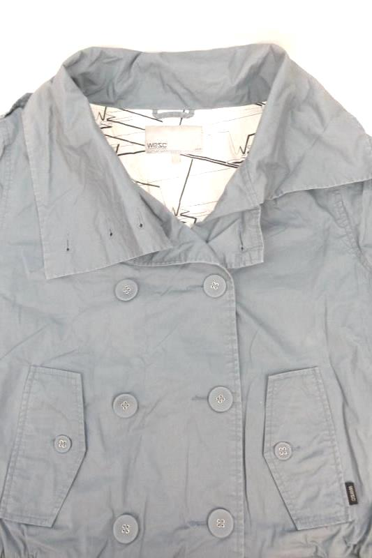 "WeSC Womens Coat Jacket Blue Size L Buttons Lined Sweden Designed Style ""Olive"""