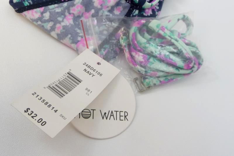 Hot Water Floral Strapless Bikini Swim Top Size S Navy Purple Teal
