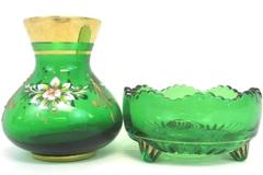 Lot of 2 Green Glass Candy Dish & 4 inch Vase Gold Trim Floral