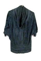 Verve Women's Cowl Neck Black & Grey Striped Shirt Size 2X