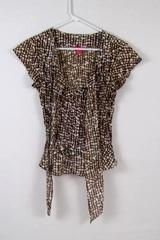 Sunny Leigh Women's Brown & White Shirt with Front Tie Size Small