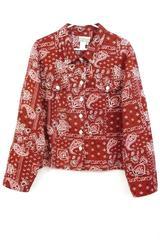 Coldwater Creek Women's Paisley Red Bandana Twill Jacket Button Front Top Sz XL