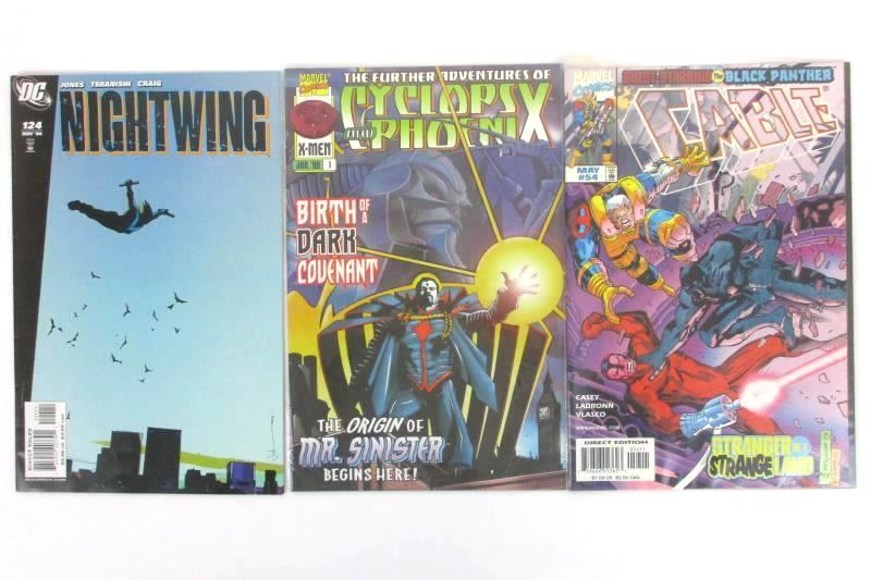 Lot of 3 DC and Marvel Comics Cyclops and Phoenix Nightwing Cable