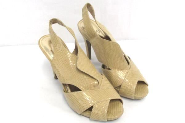 Impo Hannah Peep Toe Slingback Sandals Heels Faux Snakeskin Nude Women's 7M