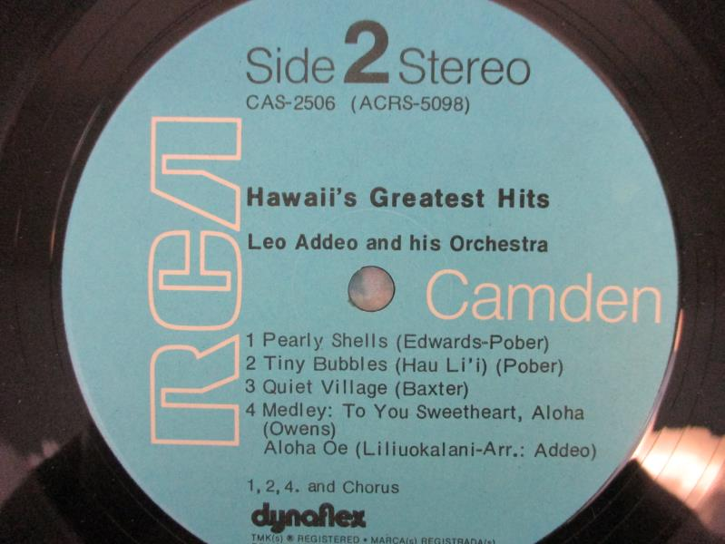Hawaii's Greatest Hits Leo Addeo And Hirs Orchestra Jazz Vinyl Record