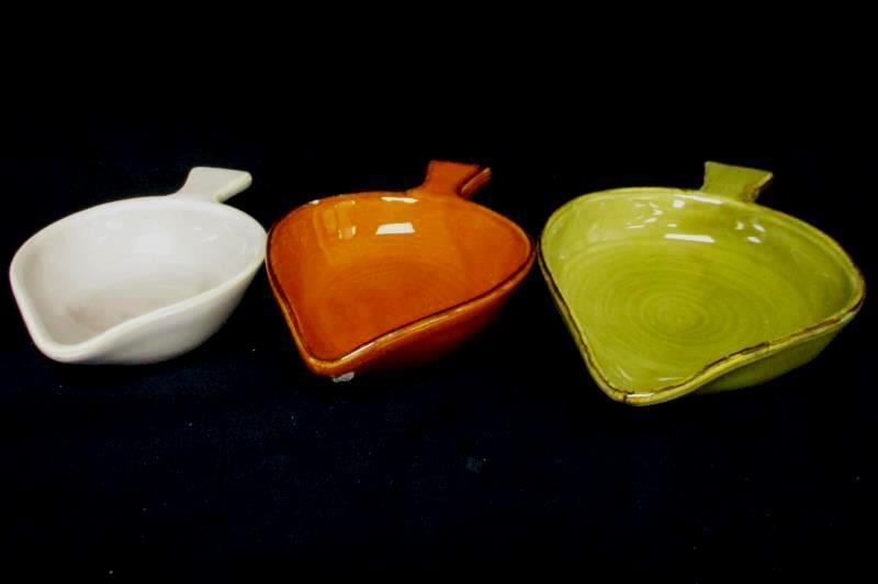Lot of 3 II Nodo Ceramiche Leaf Shaped Serving Dishes Green Orange White