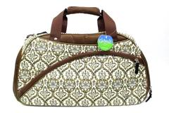 Glove It Women's Versailes Duffel Bag Brown Beige Tiger Stripes and Floral Print