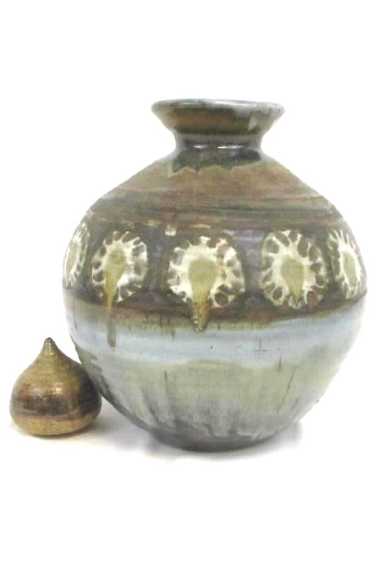 Lidded Drip Glaze Pottery Vase Brown Deco with Lid Stopper
