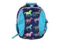Garnet Hill Kids Backpack Lavender Teal Blue Gray With Horse Decor OHK Monogram