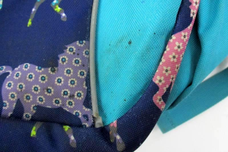 Garnet Hill Kids Backpack Lavender Teal Blue Gray With Horse Decor OHK Monogram