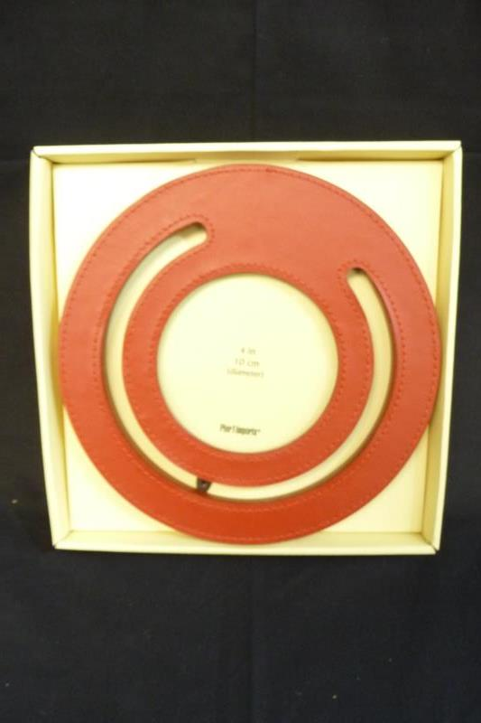 Pier One 1 Imports Desktop Frame 7.5 inch Round Red Frame Fits 4 inch Photo