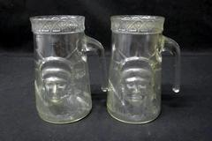 Set Of 2 Mugs Statue Of Liberty Clear Glass 6 inch Tall