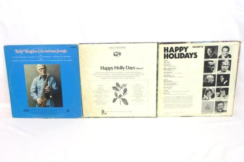 Lot of 3 Christmas Records Happy Holiday 18, Bill Vaughn Songs, Happy Holly Day