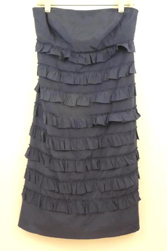 Gap Women's Navy Blue Strapless Tiered Ruffle Dress Silk Blend Sz 10 Wired