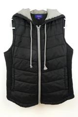 City Streets Junior's Black Puffer Vest Full Zip Hood Size XS 100% Polyester