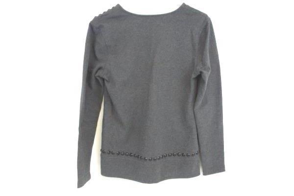Banana Republic Women's Gray V Neck Pullover L S Sweater Black Accents Sz S