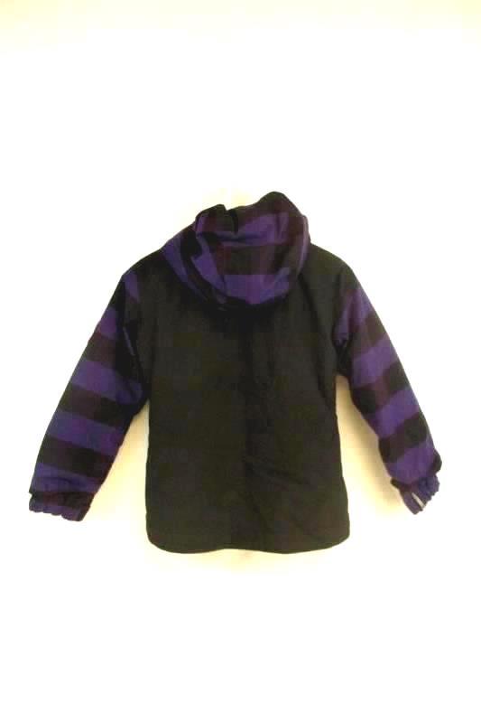 Youth Snowboarding Coat Bonfire Black Purple Plaid Size Medium