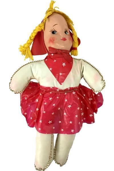 "Vintage Cowgirl Baby Doll Toy 10.5"" Tall Red & Stars Plush Plastic"