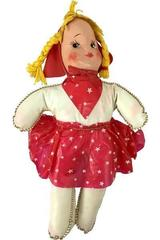 """Vintage Cowgirl Baby Doll Toy 10.5"""" Tall Red & Stars Plush Plastic"""