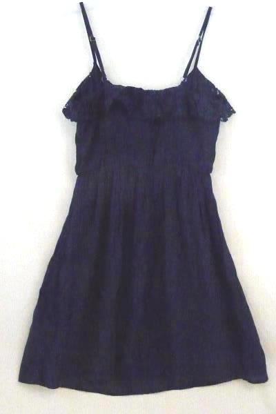 Women Iz Byer Junior Navy Blue Spaghetti Strap Sun Dress Scoop Neck X Small
