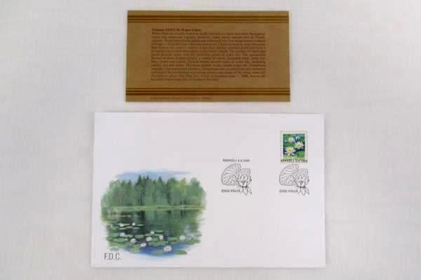 1996 Finland International FDC Water Lilies Unused with Philatelic Profile