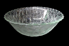 Indiana Glass Large 9 inch Dessert Fruit Bowl Weavetex Clear Pattern