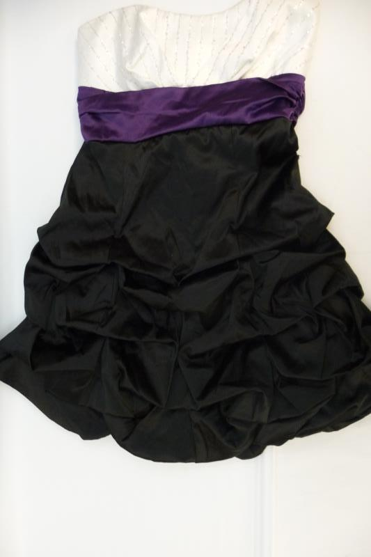 Ruby Rox Strapless White Purple Black Party Cocktail Dress Juniors Size 3