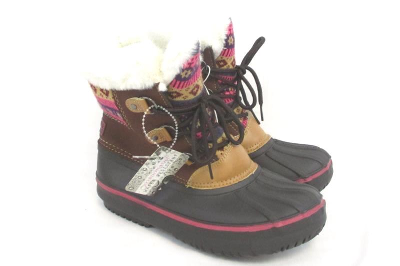 London Fog Girl's Faux Fur Lined Winter Snow Boots Brown Pink Size 4 with Tag