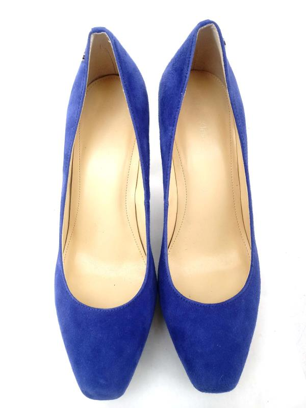 Calvin Klein Malissa Blue Suede Pumps with Snake Print Heels Size 8.5M