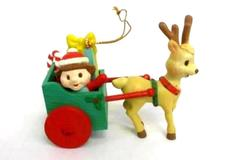 Matrix Industries Christmas Ornament Reindeer Pulling Cart of Gifts