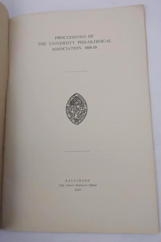 Antique Johns Hopkins University Circular Philological Association 1918-1919