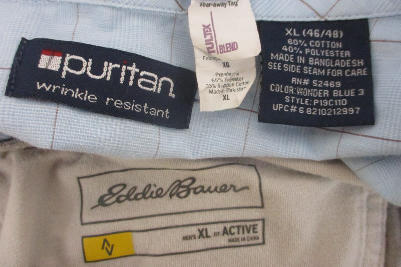 Eddie Bauer Tultex Puritan Shirt Top Button Up Blue Gray Men's Sz XL Lot of 3